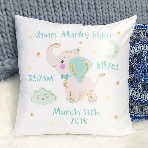 Elephant Birth Details Cushion Cover