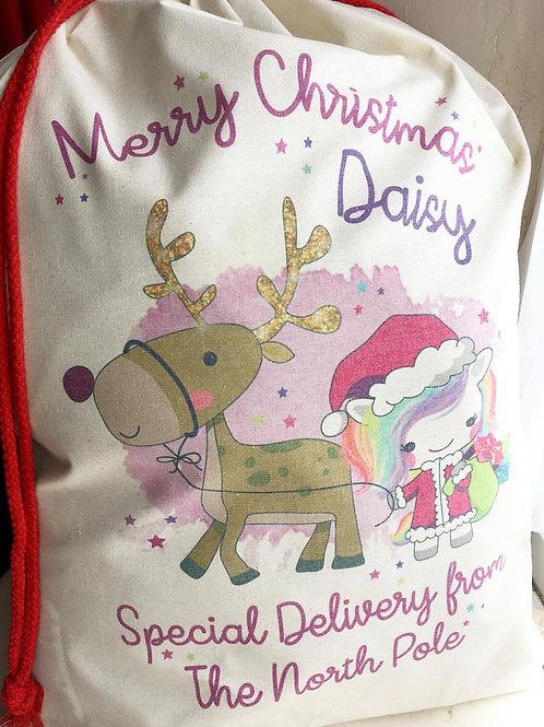 Unicorn Santa Sack