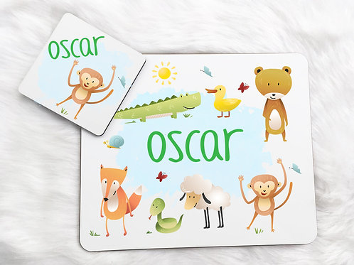 Animals Placemat & Coaster Set