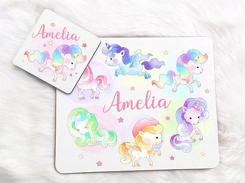 Rainbow unicorns Placemat & Coaster Set
