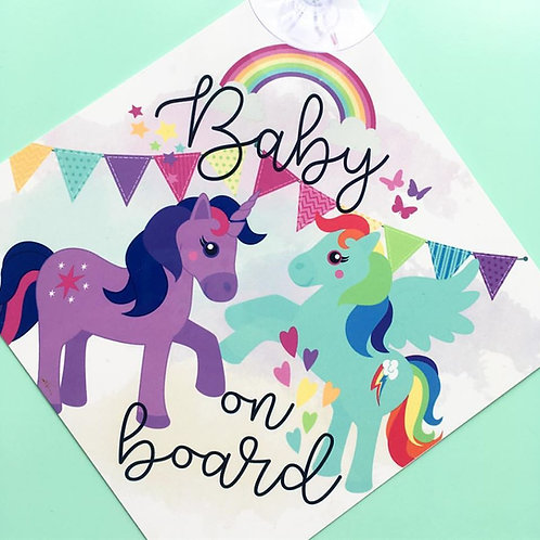 Pony/unicorn on board sign