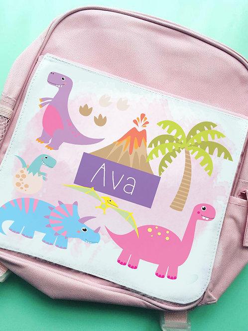 Pink dinos kids backpack