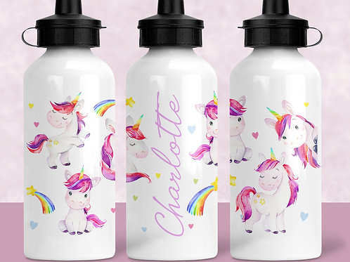 Rainbow unicorns water bottle