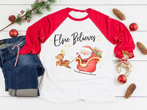 Santa's Sleigh Raglan Top