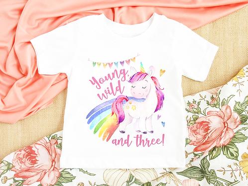 Rainbow Unicorn Birthday Tee