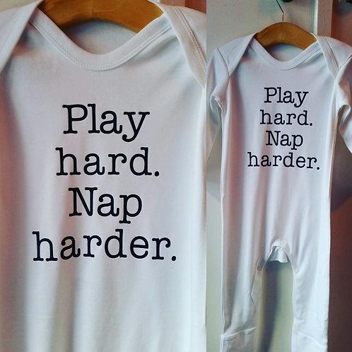 'Play Hard. Nap Harder.' babygrow