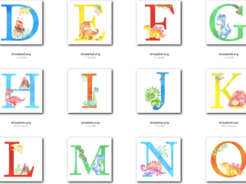 *DIGITAL CLIPART* Dinosaur Alphabet