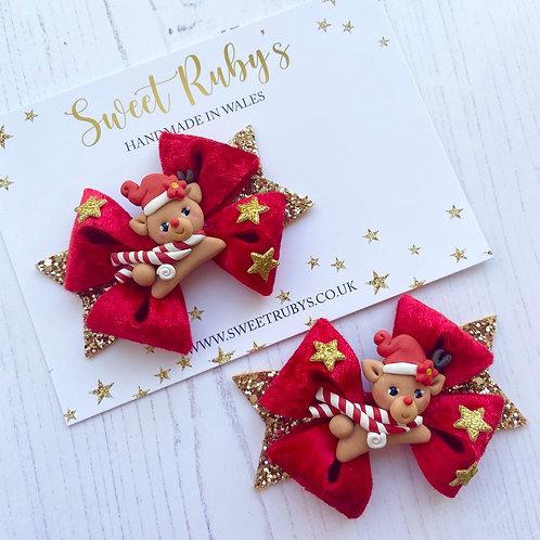 Red velvet reindeer bow