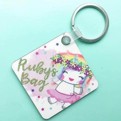 Happy Unicorn keyring or bagtag
