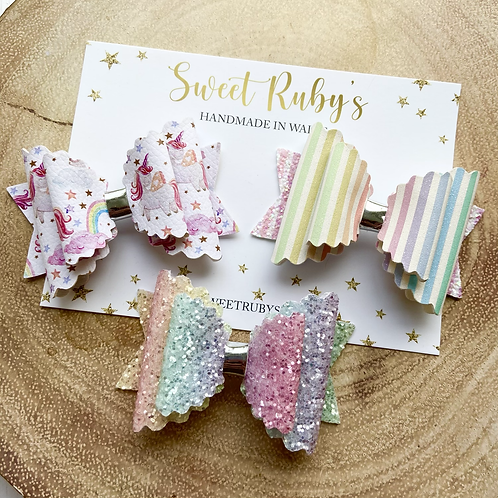 Rainbow Unicorn Bow Set