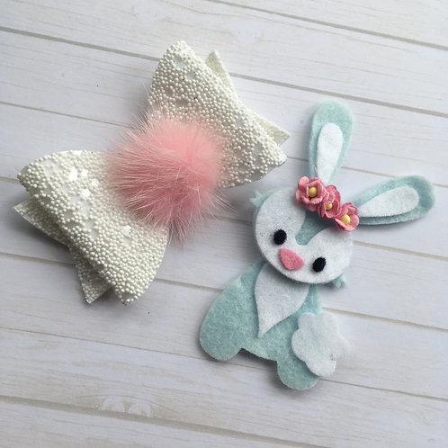 Bunny Pom Pom bow set
