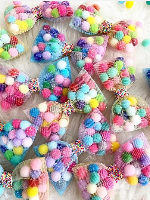 Rainbow Pom Pom Bows