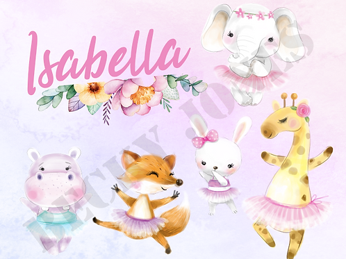 *TEMPLATE* Ballerina Animals Coaster & Placemat