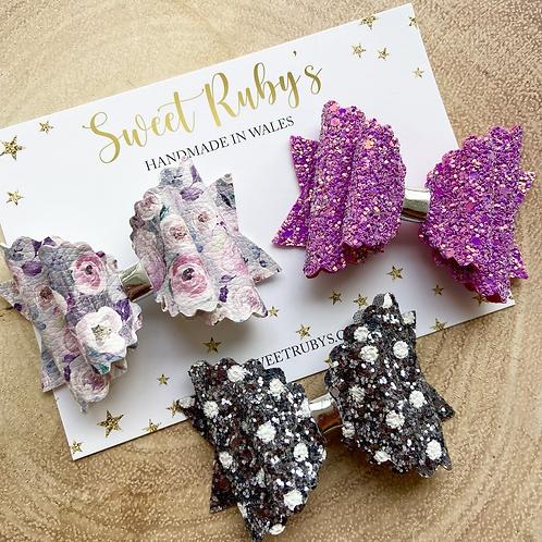 Purple & Grey Bow Set