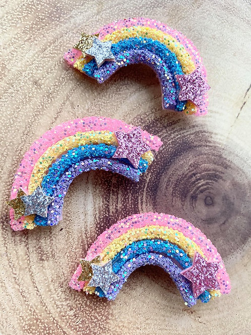 Glitter rainbow clip