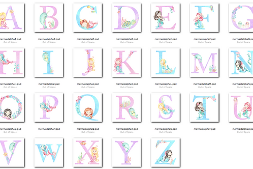 *DIGITAL CLIPART* Mermaid Alphabet