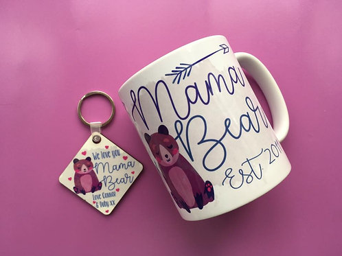 Mama Bear mug & keyring set
