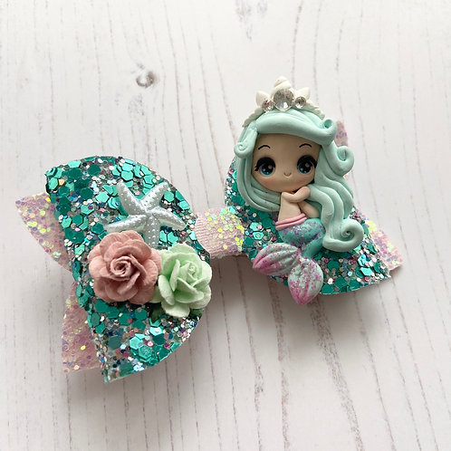 Minty mermaid bow