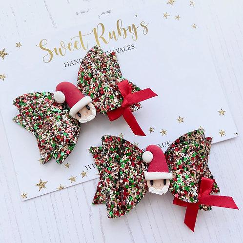 Sparkly santa bow