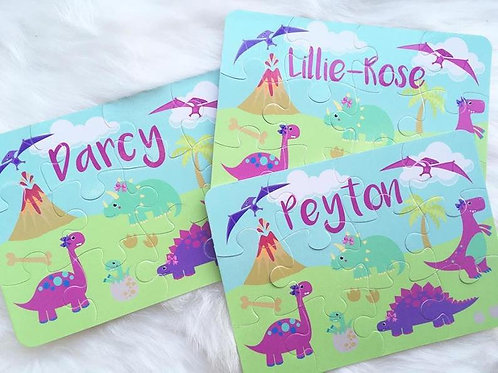 Girly dinosaurs personalised jigsaw