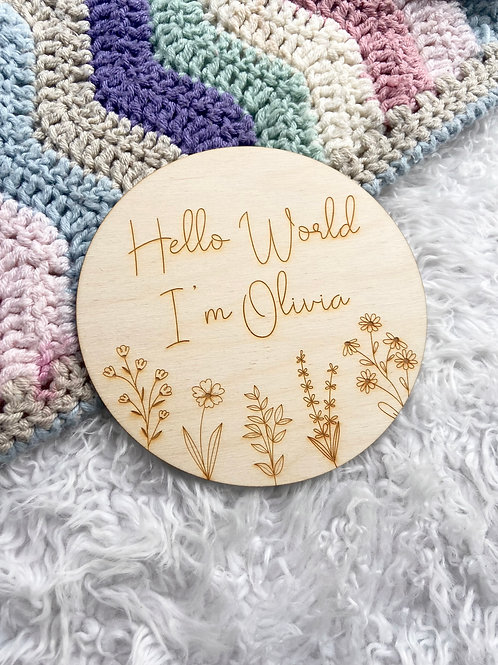 Hello World Floral Disk