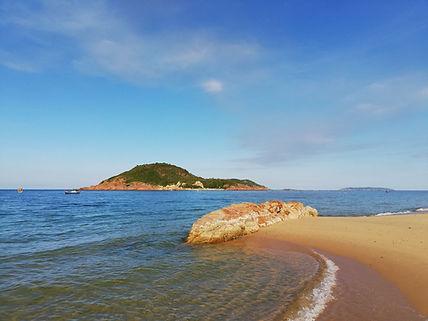 Bai Xep Beach - sand, sea, rocks, islands, blue sky