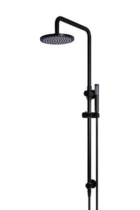Round 2-in-1 Shower Rail Set - Matte Black
