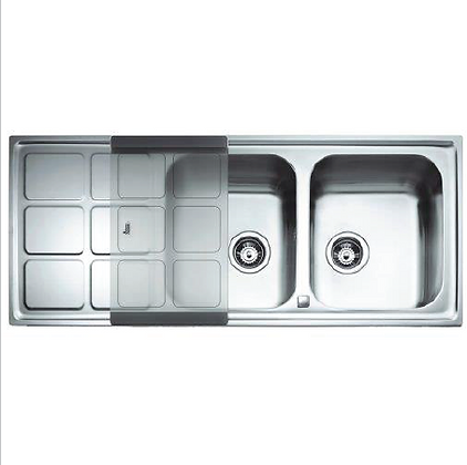 Double bowl kitchen sink with glass table