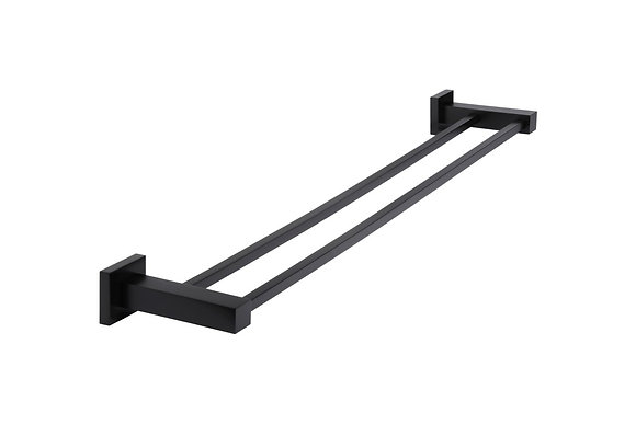 Square Double Matte Black Towel Rail 600mm