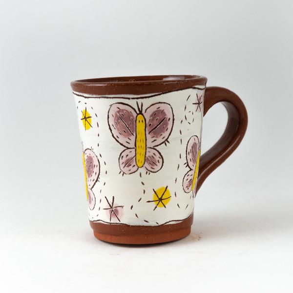tall pink + lavender butterflies mug