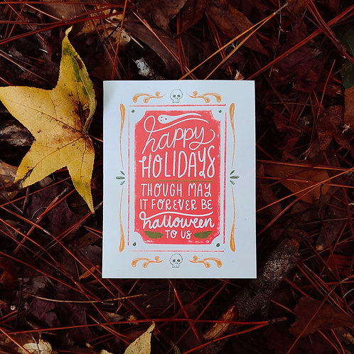 Christmas for Halloween Lovers Handlettered Greeting Card