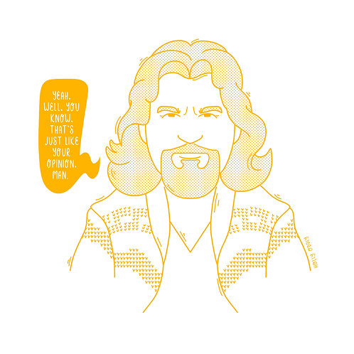 The Big Lebowski, The Dude, 4x4 Print (Print Only. No Framed Included.)
