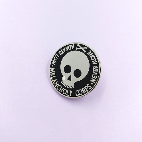 Melancholy Corps Hard Enamel Pin, Black and Silver