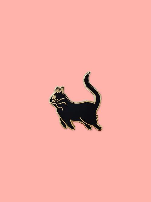 Black Cat Enamel Pin, Gold