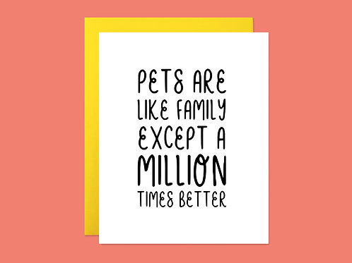 Pets are Like Family Handlettered Greeting Card