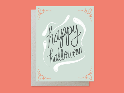 Halloween Ghost Handlettered Greeting Card