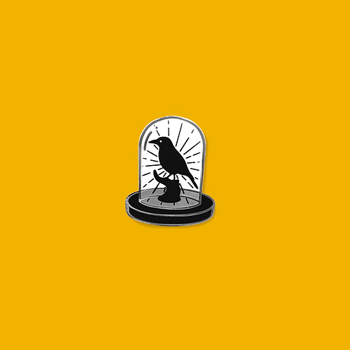 Taxidermy Bird in a Bell Jar Enamel Pin