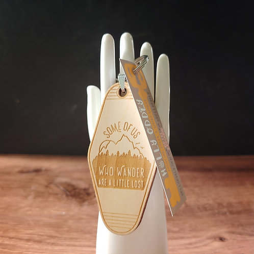 Some of Us Who Wander Wooden Motel Keychain
