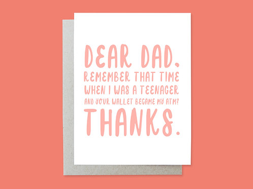 Father's Day ATM Handlettered Greeting Card