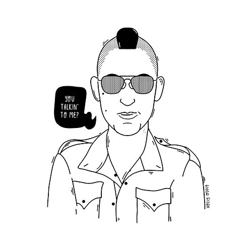 Taxi Drive, Travis, 4x4 Print (Print Only. No Framed Included.)