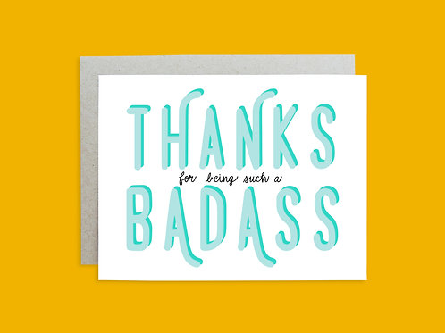 Badass Thank you Hand Lettered Greeting Card
