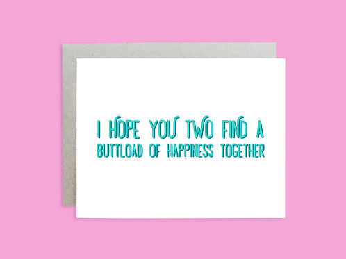 Wedding: Buttload of Happiness Handlettered Greeting Card