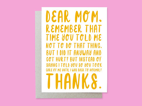 Mother's Day Hurt Handlettered Greeting Card