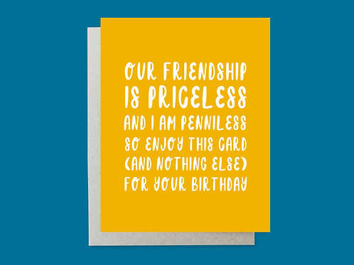 Priceless Handlettered Greeting Card
