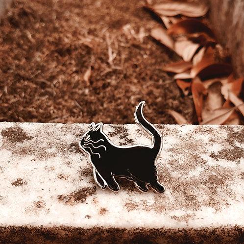 Black Cat Enamel Pin, Silver