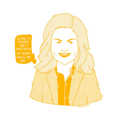 Parks and Rec, Leslie Knope, 4x4 Print (Print Only. No Framed Included.)