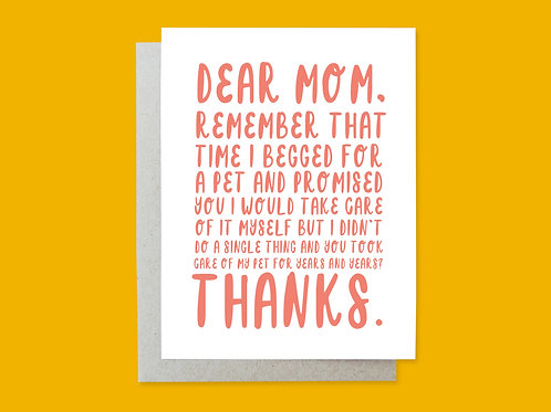Mother's Day Pet Handlettered Greeting Card