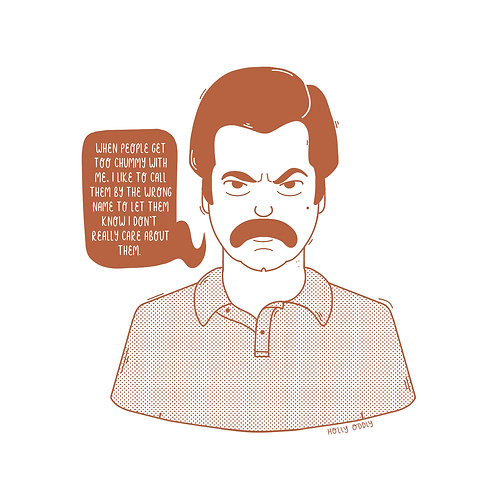 Parks and Rec, Ron Swanson, 4x4 Print (Print Only. No Framed Included.)
