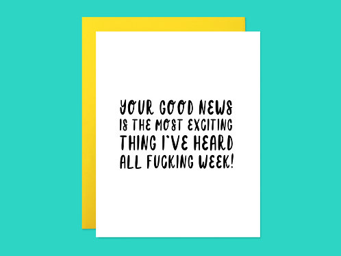 Your Good News Handlettered Greeting Card