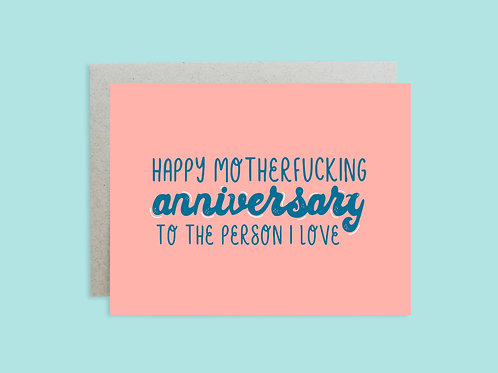 Motherfucking Anniversary Handlettered Greeting Card